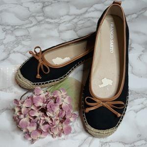 ♡Franco Sarto black canvas brown bow espadrilles